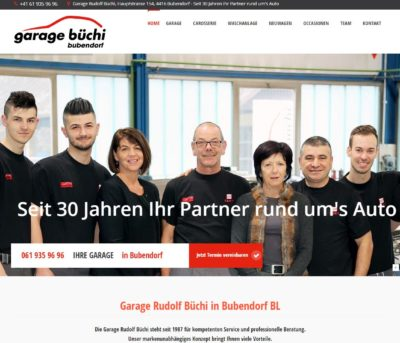 Website Garage Büchi Bubendorf Baselland